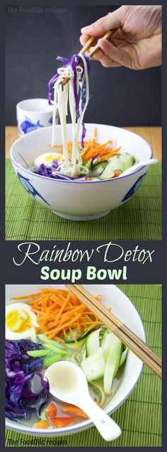 A detox soup bowl filled with colorful veggies and a few noodles to detox from all that gravy and sweets we've had over the holidays. Simple, healthy and yummy! #detox #soup #vegetarian