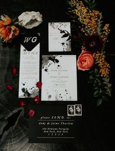 ink splatter pattern modern black and white invitation