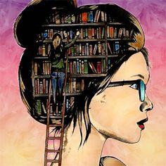 Don't live with an empty mind. Cartoon Girl Images, Cartoon Art, Girly Drawings, Art Drawings, Book Wallpaper, Reading Art, Illustration Art, Illustrations, Book Images