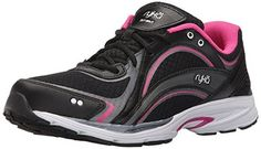 RYKA Women's Sky Walking Shoe, Black/Pink, 8 W US: Lightweight shoe designed for fitness walking. The breathable mesh with supportive overlays and sleek midsole provides a lighter weight, yet supportive walking shoe. Cool High Heels, Ryka Shoes, Best Hiking Shoes, New Balance Shoes, Walking Shoes, Summer Shoes, Girls Shoes, Black Shoes, Athletic Shoes