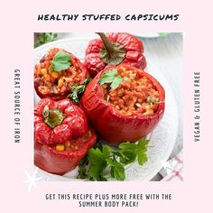 How delicious do these Healthy Stuffed Capsicums look! You can find this recipe as well as a heap more in our 4 Week Summer Ready Program!  .  Don't forget! Our Summer Ready Program comes FREE with every purchase of a Summer Body Pack  .  www.uniquemuscle.com.au Healthy Eating Habits, Healthy Tips, Gluten Free Recipes, Vegan Recipes, Sources Of Iron, Macro Meals, Workout Guide, Summer Body, Loving Your Body
