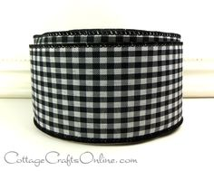 Wired Ribbon 2 1/2 Black and White Check by CottageCraftsOnline