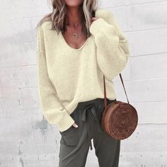 Khaki V-Ausschnitt Langarm einfarbig Pullover Oversize-Pullover Strickpullover . Loose Sweater, Long Sleeve Sweater, Comfy Sweater, Grey Sweater, Sweater Cardigan, Casual Sweaters, Sweaters For Women, Winter Sweaters, Long Sweaters