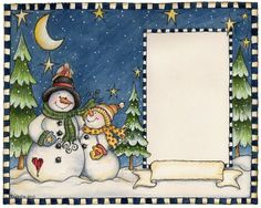 Laurie Furnell - snowmen card topper with area for sentiment