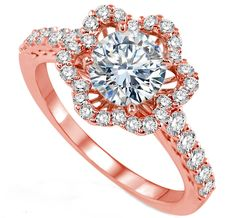 Pink Gold Engagement Ring Diamond floral Halo