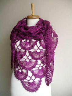 Burgundy Shawl  Spring  2012   Spring Fashion New by crochetlab, $76.00