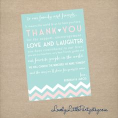 DIY Printable Wedding Napkin Thank You Card  by lovelylittleparty, $11.00
