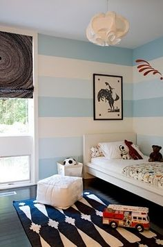 Tri-color stripes are much more subtle/relaxing - Angie Hranowsky boys room