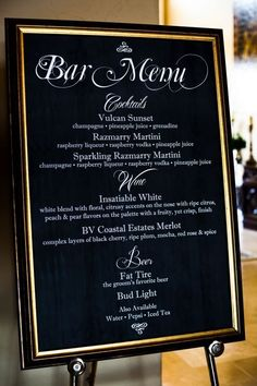the flow of event can have more formal feel like this bar menu has