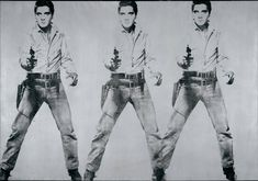 Andy Warhol. Triple Elvis.1963. Acrylic and silkscreen ink on canvas. I selected Andy Warhol because I am one of the many guilty people who has hung one of his pieces in my living room without knowing much about him. I selected this specific piece because it is monochromatic but still aesthetically pleasing. There is also repetition, which is one of Warhol's trademarks.
