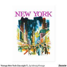 Carte Postale Annonce vintage de voyage de nuit de New York City