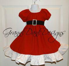 Santa Christmas Holiday peasant dress baby by GranniDaniDesigns Toddler Dress, Baby Dress, Toddler Girl, Girls Dresses, Summer Dresses, Formal Dresses, Santa Dress, Little Girl Outfits, Black Rhinestone