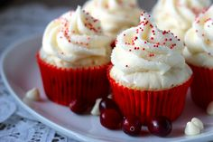 Cranberry White Chocolate Cupcakes | Your Cup of Cake ... I am now obsessed with her website. Absolutely stunning cupcakes. These would be perfect for a Christmas / Holiday party! Christmas come faster!!