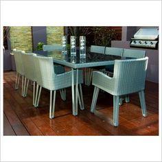 Silver Wicker 9 Piece Rectangular Dining Set By Designs