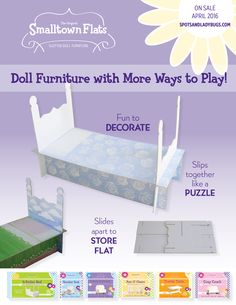 Smalltown Flats - slotted doll furniture - pieces slip together like a puzzle. Decorate them with stickers, paint or markers! Fun craft that encourages creativity. http://spotsandladybugs.com/t/smalltown-flats