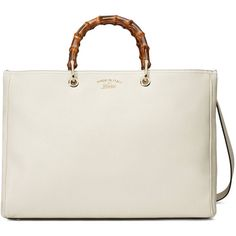 Gucci Bamboo Shopper Leather Tote ($2,255) ❤ liked on Polyvore featuring bags, handbags, tote bags, top handles, women, white leather tote bag, shopping tote, gucci handbags, leather handbag tote and lightweight leather tote