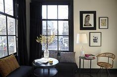 white walls black floors black sofa black curtains and windows - Living rooms - Black Window Trims, Black Windows, Inspiration Design, Interior Inspiration, Living Room Windows, Living Spaces, Living Rooms, Amsterdam Houses, Hotel Amsterdam