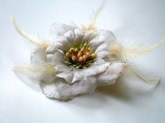 Ivory Flower Brooch Feathered Wedding Bridal by fizzaccessory, $20.00