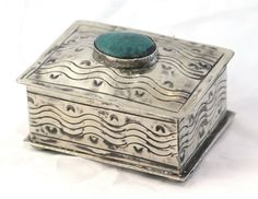 Small Wavy Stamped Silver Box with Turquoise - Home Décor - National Cowboy Museum