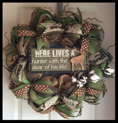 Hunter Wreath; Rustic Wreath; Outdoor Theme Wreath; Deer Wreath; Country Wreath; Brown and Green Wreath by ChewsieCreations on Etsy