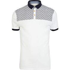 White tile print yoke polo shirt - polo shirts - t-shirts / vests - men Vest Outfits, Cute Outfits, Fashion Outfits, River Island Fashion, Mens Trends, Vogue, Fashion And Beauty Tips, T Shirt Vest, Polo T Shirts