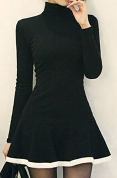 41faa2d2fe7e Black Turtleneck Long Sleeves Color Splicing Flounce Stylish Skater Dress  Fashion