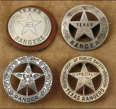History of badges of Texas Rangers! ★ The Texas Rangers badges are made from a 1947 or a 1948 silver dollar. One of these two silver dollars are used because they are solid silver. The ridges around the edge of the coin are visible and can be felt on all authentic Ranger badges.
