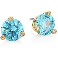Kate Spade New York Rise And Shine Small Stud Earrings (€35) ❤ liked on Polyvore featuring jewelry, earrings, aquamarine, kate spade, 14 karat gold stud earrings, 14k stud earrings, multi colored earrings and colorful stud earrings