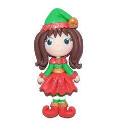 Santa Claus Christmas Girl Elf in Costume Handmade Polymer Clay Pendant Magnet Bead Figure Tree Ornament by SFHandmadeDesigns on Etsy https://www.etsy.com/listing/470596415/santa-claus-christmas-girl-elf-in