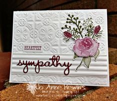 First Frost Sympathy Card by Jo Anne Hewins Embossed Cards, Beautiful Handmade Cards, Stamping Up Cards, Scrapbooking, Get Well Cards, Card Patterns, Card Sketches, Flower Cards, Creative Cards