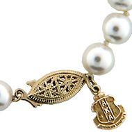 HJGreek | Alpha Kappa Alpha | Accessories | Pearl Necklace W/14K Crest