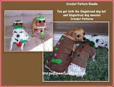 Gingerbread Dog Hat and Sweater  Crochet by poshpoochdesigns