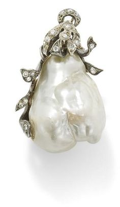 A baroque cultured pearl and diamond pendant