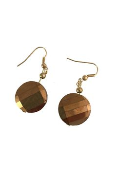 "These earrings feature a faceted glass disc that is 5/8"" in diameter complimented by a copper toned sphere. These earrings are completed with gold plated non-allergenic hooks.    Copper Drop Earings by PIZAZZ. Accessories - Jewelry - Earrings Ohio"