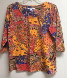 Isaac Mizrah Women's Tunic Blouse Size L Multicolor 3/4 Sleeve Floral Paisley #IsaacMizrahi #Tunic