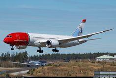 "Norwegian Air Shuttle Boeing 787-8 Dreamliner LN-LNH ""H.C. Andersen"" on very short final approach for 19L at Stockholm-Arlanda, May 2016. (Photo: Mats Salder)"