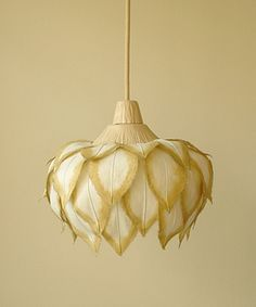 this would be so easy to make: simple lampshade, muslin, and lightly dye the edges of the muslin fabric.