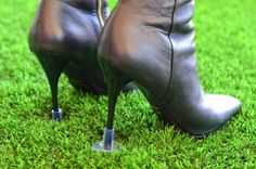 The perfect solution to walking in the grass with heels!  Amazon.com: Heels Above Stiletto High Heel Protectors - Clear: Everything Else