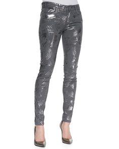 Paige Denim Verdugo Metallic Foil Print Stretch Skinny Jeans, Surrealism5