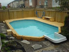 Semi inground pool landscaping ideas swimming pool decks - Swimming pools in hamilton ontario ...