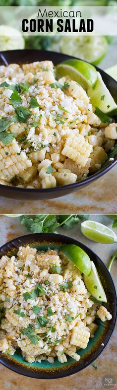 Take advantage of sweet summer corn with this Mexican Corn Salad - filled with Mexican cheese, lime, cilantro, and a zing of spiciness.: