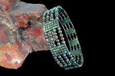 Beadwoven Memory Wire Cuff with Czech Glass and by beadbound