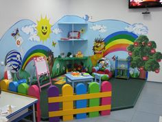 A colored fence for safeguarding Kids Church Rooms, Church Nursery, Nursery Room, Kids Bedroom, Kindergarten Interior, Kindergarten Design, Kids Indoor Playhouse, Playroom Mural, Daycare Spaces