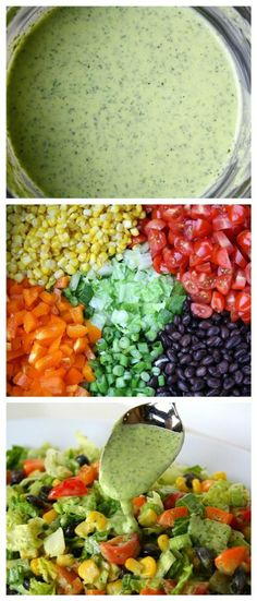 Head of romaine lettuce, chopped 2 cups cooked black beans and/or pinto 1 large bell pepper, chopped 1 large tomato, diced 1 cup corn 1/3 cup green onions, chopped 1/4 cup cilantro, chopped 1 avocado, sliced Fresh salsa Cilantro Lime Dressing Ingredients: 1 cup loosely packed cilantro, 1/2 cup plain greek yogurt 2 Tbsp fresh lime juice 1-2 garlic cloves 1/4 cup olive oil 1 1/2 tsp white vinegar 1/8 tsp sea salt