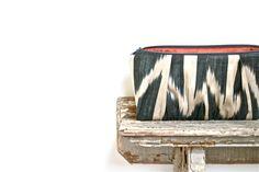 navy silk ikat clutch bag, chevron print, tribal. $62.00, via Etsy.