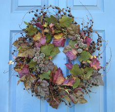 Large Front Door Wreaths | Tuscan Grapevine Floral Front Door Wreath or Centerpiece Wall ...