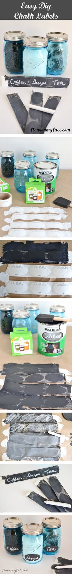 Easy DIY Chalkboard labels - could do this with any type of label, even office mailing labels?