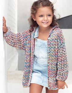 A Fil Katia Design - At Knittingfever.Co - hadido Crochet Jacket, Crochet Cardigan, Knit Crochet, Girls Sweaters, Baby Sweaters, Jean Beige, Kids Poncho, Crochet Girls, Sweater Knitting Patterns