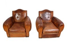 A pair of imposing leather club Art Deco French armchairs that are in the typical style of the era. Mid Century Chair, Mid Century Furniture, Retro Furniture, Antique Furniture, Dining Room Chairs, Armchairs, Outdoor Chairs, Home Goods, Art Deco