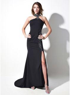 Trumpet Mermaid Halter Sweep Train Satin Chiffon Prom Dress With Beading  Split Front Dresses Canada 596f77a710d4